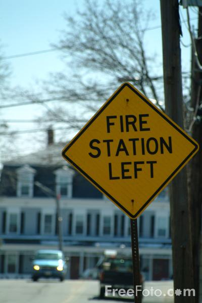 Picture of Fire Station Left Road Traffic Sign - Free Pictures - FreeFoto.com