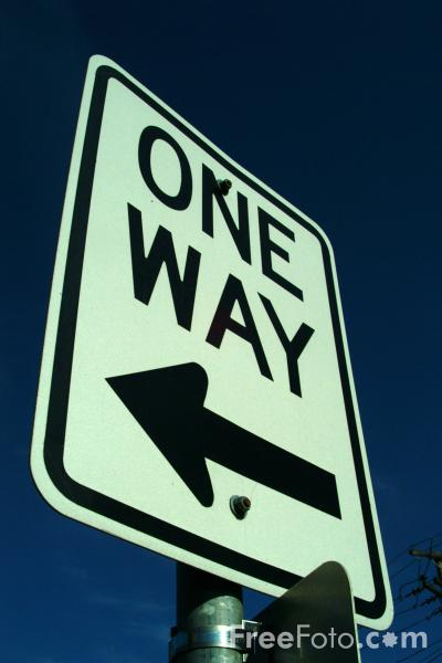 Picture of One Way Road Traffic Sign - Free Pictures - FreeFoto.com