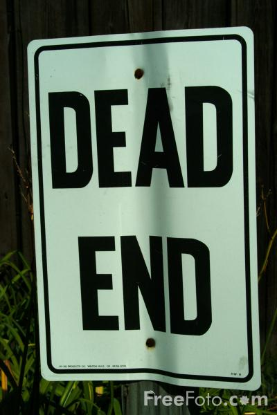 Picture of dead-end road sign