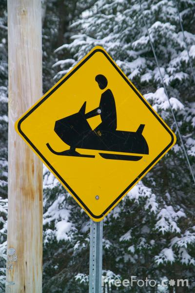 Picture of Caution snowmobile ahead road traffic sign - Free Pictures - FreeFoto.com