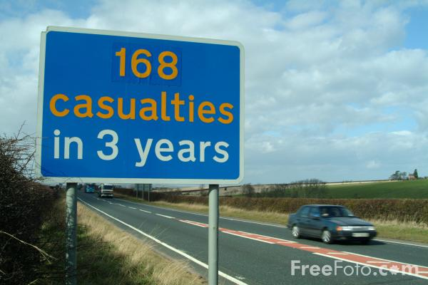 Picture of 169 Casualties Road Sign - Free Pictures - FreeFoto.com