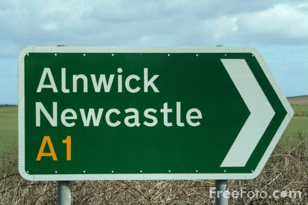 Picture of A1 Northumberland Road Sign - Free Pictures - FreeFoto.com