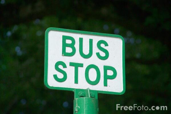 Picture of Bus Stop Sign - Free Pictures - FreeFoto.com