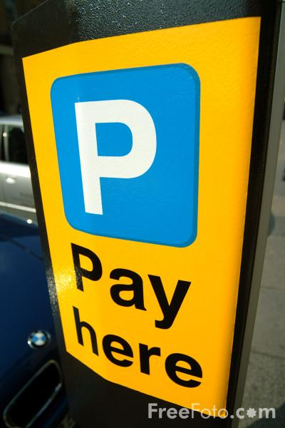 Picture of Parking Pay Here Sign - Free Pictures - FreeFoto.com