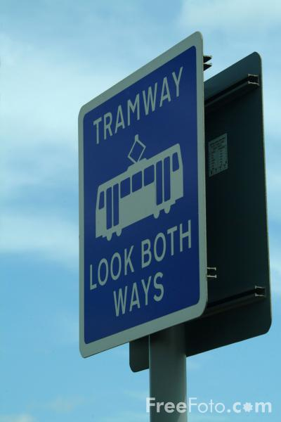 Picture of Tramway Look Both Ways Sign - Free Pictures - FreeFoto.com