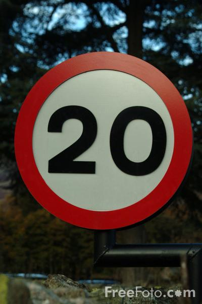 Picture of 20 mph Road Speed Sign - Free Pictures - FreeFoto.com