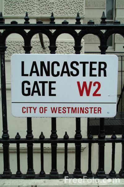 Picture of Lancaster Gate W2 Road Sign - Free Pictures - FreeFoto.com