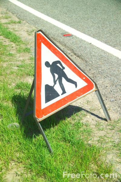 Picture of Roadworks Ahead Sign - Free Pictures - FreeFoto.com