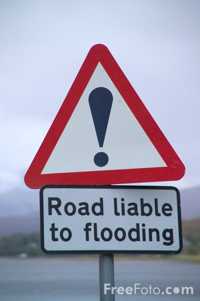 Picture of Road Liable To Flooding Road Sign - Free Pictures - FreeFoto.com