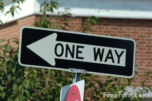 Picture of One Way USA Road Sign - Free Pictures - FreeFoto.com