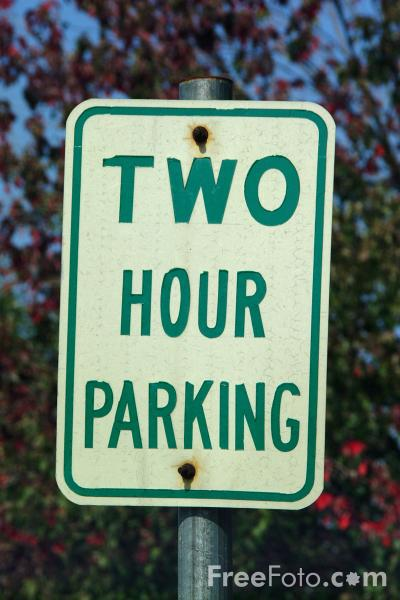Picture of Two Hour Parking - USA Road Sign - Free Pictures - FreeFoto.com