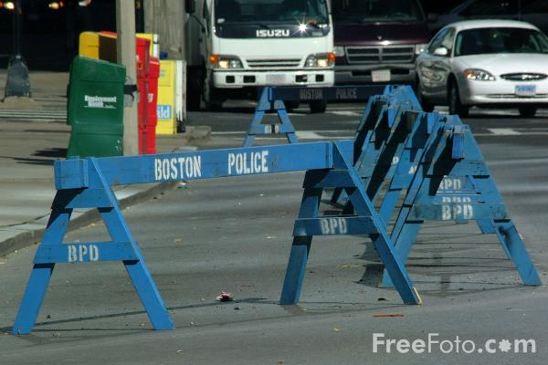 Picture of Boston Police Road Barrier - Free Pictures - FreeFoto.com
