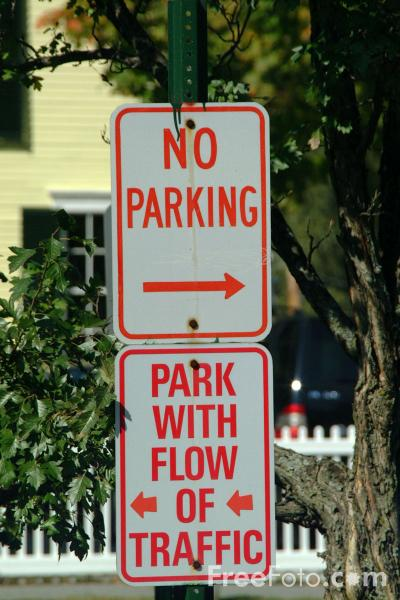 Picture of No Parking - USA Road Sign - Free Pictures - FreeFoto.com
