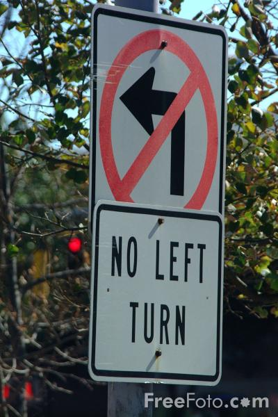 Picture of No Left Turn - USA Road Sign - Free Pictures - FreeFoto.com