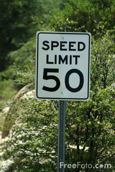 Picture of Speed Limit 50 Sign - Free Pictures - FreeFoto.com