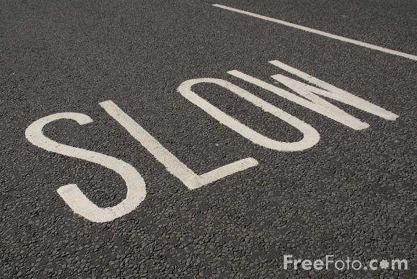Picture of Slow Road Traffic Sign - Free Pictures - FreeFoto.com