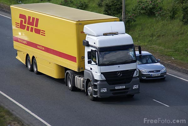 Picture of DHL Articulated lorry - Free Pictures - FreeFoto.com