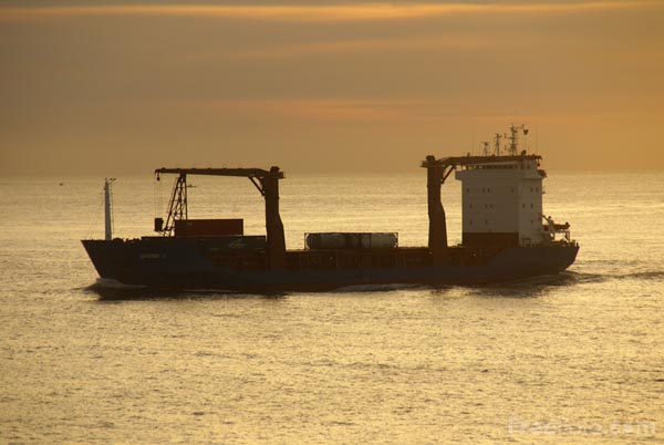 Picture of Cargo Ship at Sunrise, Cape Elizabeth, Maine - Free Pictures - FreeFoto.com