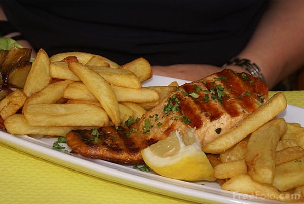Picture of Grilled Salmon and Chips - Free Pictures - FreeFoto.com
