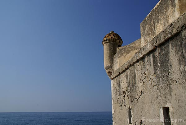 Picture of Mediterranean Sea and castle, Menton - Free Pictures - FreeFoto.com