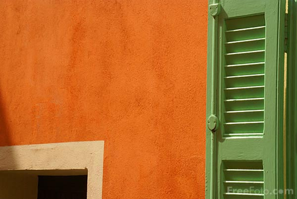 Picture of Terracotta wall and green shutter - Free Pictures - FreeFoto.com