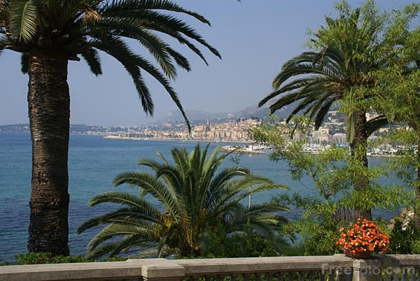 Picture of The Mediterranean Sea and the old town of Menton. - Free Pictures - FreeFoto.com
