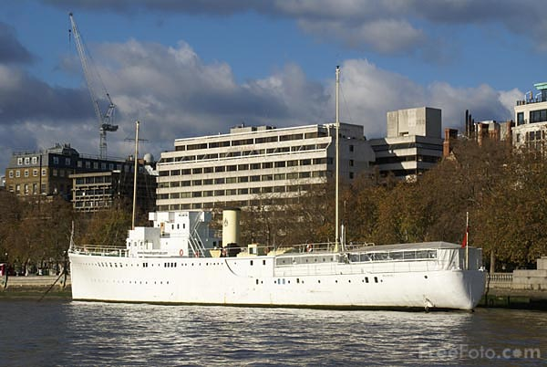 Picture of The Head Quarter Ship Wellington on the River Thames - Free Pictures - FreeFoto.com