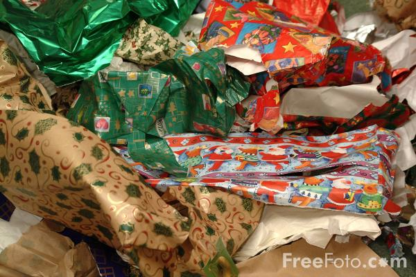 Picture of Discarded Christmas Wrapping Paper - Free Pictures - FreeFoto.com