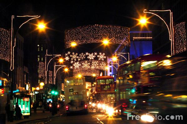 Picture of Christmas Lights, Regent Street, London, England. - Free Pictures - FreeFoto.com
