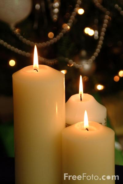 Picture of Christmas Candles - Free Pictures - FreeFoto.com