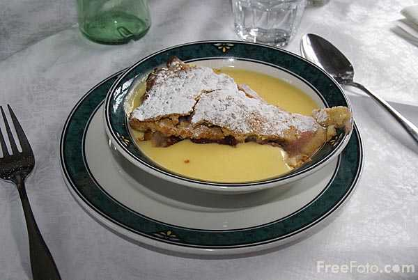Picture of Fruit Pie and Custard - Free Pictures - FreeFoto.com