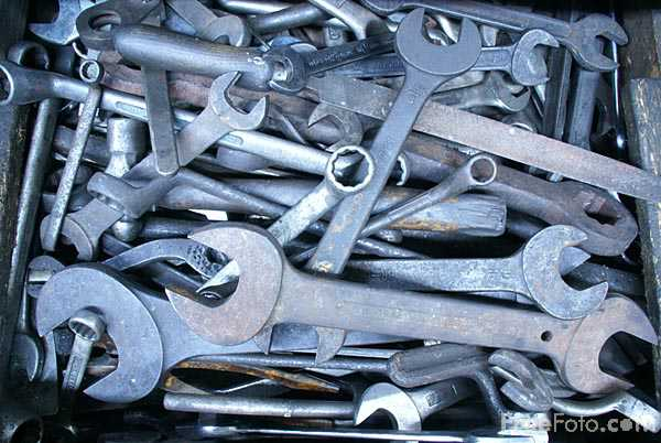 Picture of Old tools and spanners - Free Pictures - FreeFoto.com