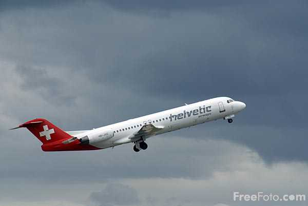 Picture of Helvetic Airways Fokker 100 HB-JVG - Free Pictures - FreeFoto.com