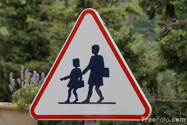 Picture of Danger School Road Sign - Free Pictures - FreeFoto.com