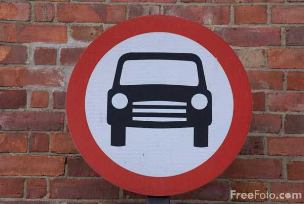 Picture of No Car Zone Road Sign - Free Pictures - FreeFoto.com