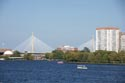 Image Ref: 909-22-102 - The Leonard P Zakim-Bunker Hill Memorial Bridge, Boston's new cable-stayed bridge over the Charles River, is the world's widest, Viewed 5137 times