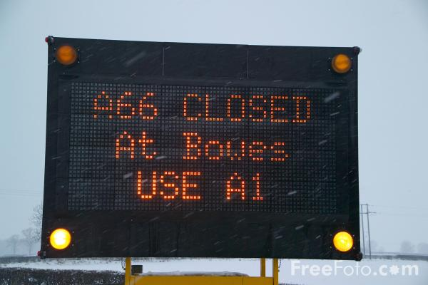 Picture of A66 Road closed by snow - Free Pictures - FreeFoto.com