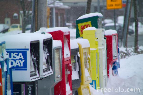 Picture of Snow covered newspaper stands - Free Pictures - FreeFoto.com