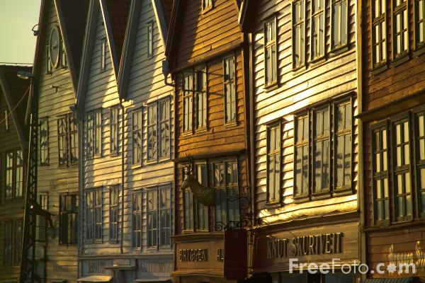 Picture of The Hanseatic Wharf at Bryggen in Bergen, Norway - Free Pictures - FreeFoto.com