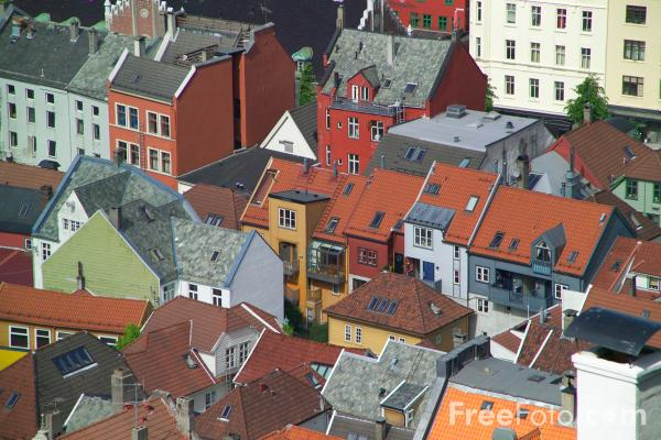 Picture of Roof Tops, Bergen, Norway - Free Pictures - FreeFoto.com