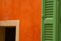 Image Ref: 9908-07-1845 - Terracotta wall and green shutter, Viewed 6622 times