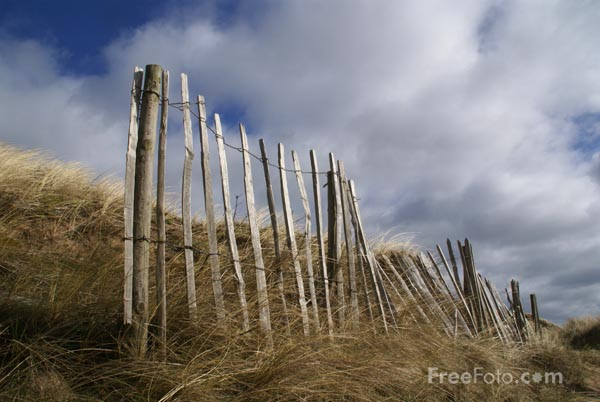 Picture of Fence and sand dune - Free Pictures - FreeFoto.com