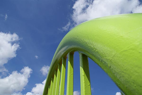 Picture of Green Fence and Blue Sky - Free Pictures - FreeFoto.com