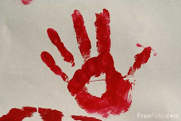 Picture of Red Hand Print - Free Pictures - FreeFoto.com