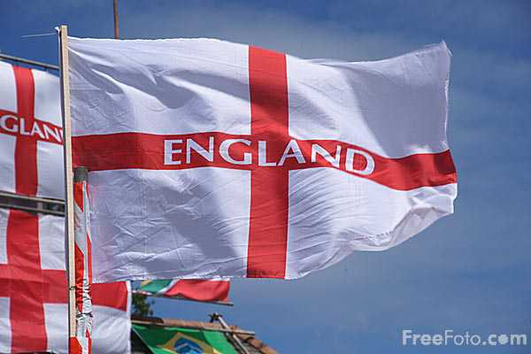 Picture of England Flags, The Clock Tavern, Hebburn, Tyne & Wear - Free Pictures - FreeFoto.com
