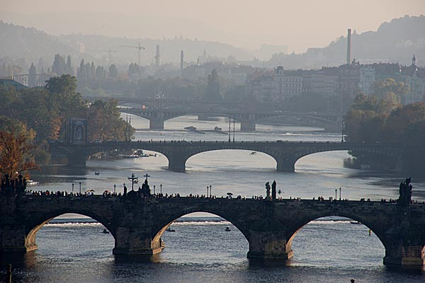 Picture of Prague Bridges on Vltava River - Free Pictures - FreeFoto.com