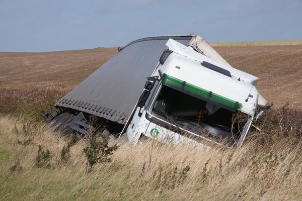 Picture of Lorry blown over on the A1 as gales battered the region. - Free Pictures - FreeFoto.com
